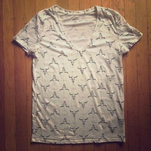Urban Outfitters longhorn cattle soft v-neck tee